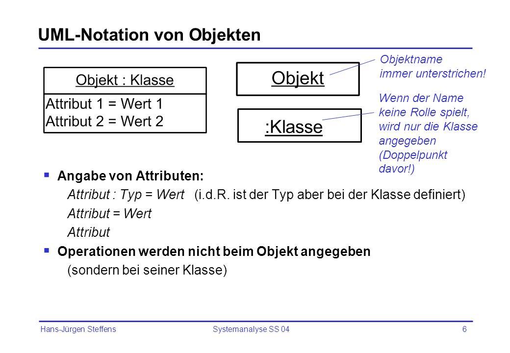 Hans-Jürgen Steffens Systemanalyse SS 046 UML-Notation von Objekten Angabe von Attributen: Attribut : Typ = Wert (i.d.R. ist der Typ aber bei der Klas