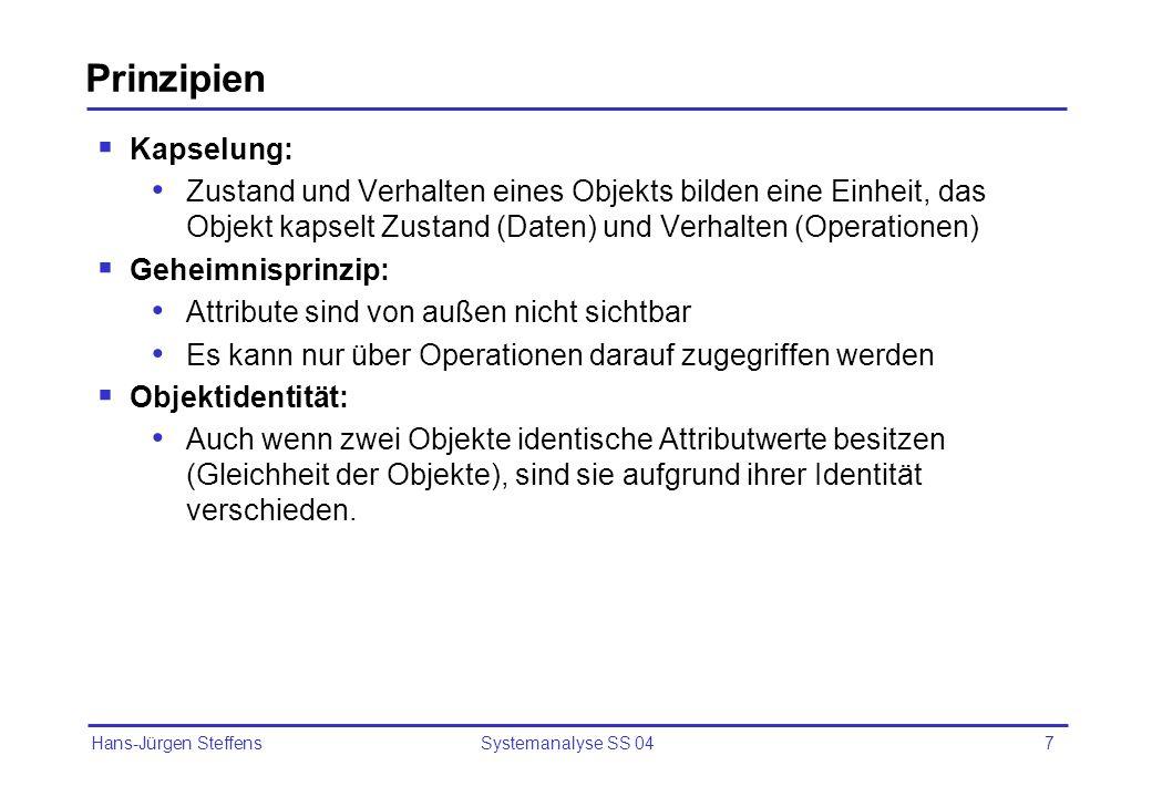 Hans-Jürgen Steffens Systemanalyse SS 047 Prinzipien Kapselung: Zustand und Verhalten eines Objekts bilden eine Einheit, das Objekt kapselt Zustand (D