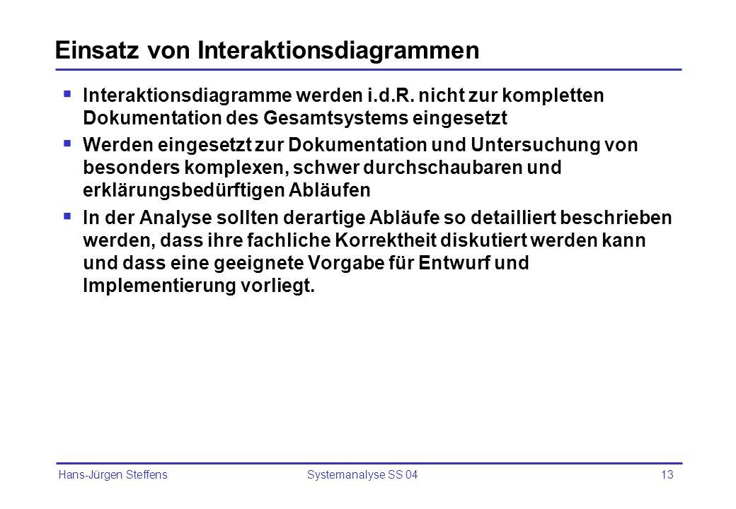 Hans-Jürgen Steffens Systemanalyse SS 0413 Einsatz von Interaktionsdiagrammen Interaktionsdiagramme werden i.d.R. nicht zur kompletten Dokumentation d