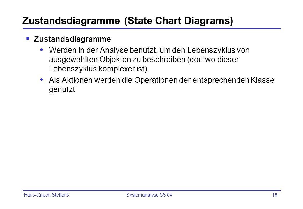 Hans-Jürgen Steffens Systemanalyse SS 0416 Zustandsdiagramme (State Chart Diagrams) Zustandsdiagramme Werden in der Analyse benutzt, um den Lebenszykl