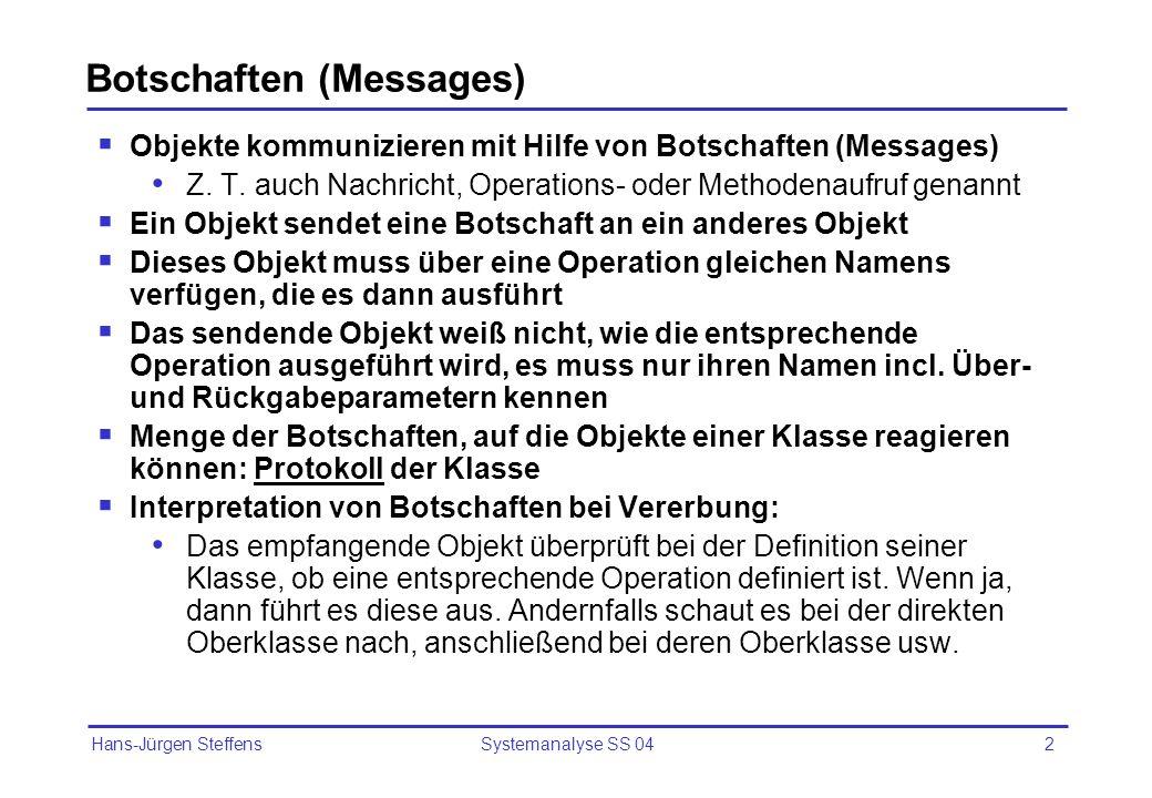 Hans-Jürgen Steffens Systemanalyse SS 042 Botschaften (Messages) Objekte kommunizieren mit Hilfe von Botschaften (Messages) Z. T. auch Nachricht, Oper