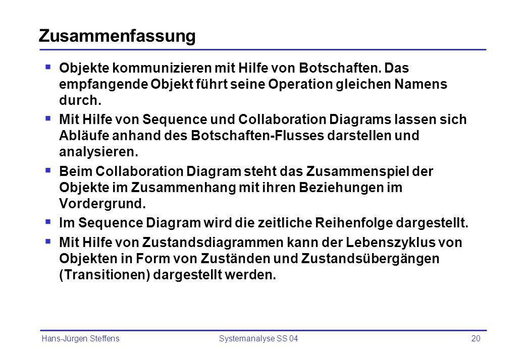 Hans-Jürgen Steffens Systemanalyse SS 0420 Zusammenfassung Objekte kommunizieren mit Hilfe von Botschaften. Das empfangende Objekt führt seine Operati