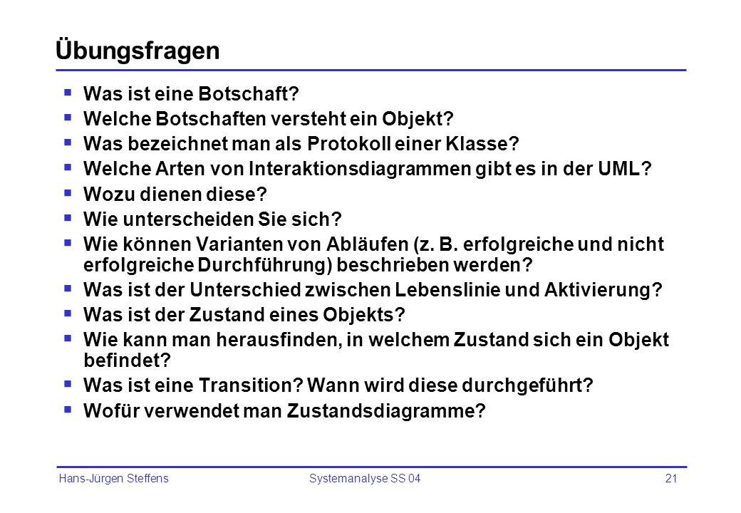 Hans-Jürgen Steffens Systemanalyse SS 0421 Übungsfragen Was ist eine Botschaft? Welche Botschaften versteht ein Objekt? Was bezeichnet man als Protoko