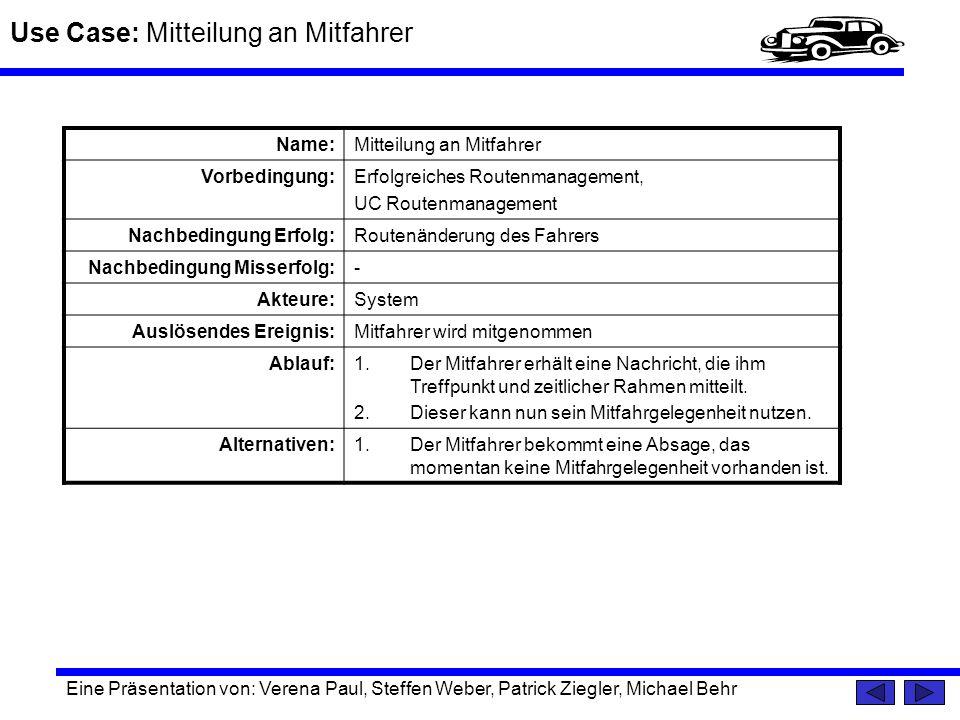 Use Case: Mitteilung an Mitfahrer Eine Präsentation von: Verena Paul, Steffen Weber, Patrick Ziegler, Michael Behr Name:Mitteilung an Mitfahrer Vorbed