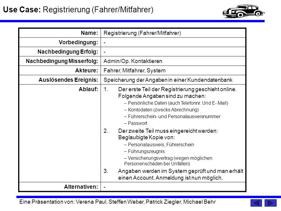 Use Case: Registrierung (Fahrer/Mitfahrer) Eine Präsentation von: Verena Paul, Steffen Weber, Patrick Ziegler, Michael Behr Name:Registrierung (Fahrer