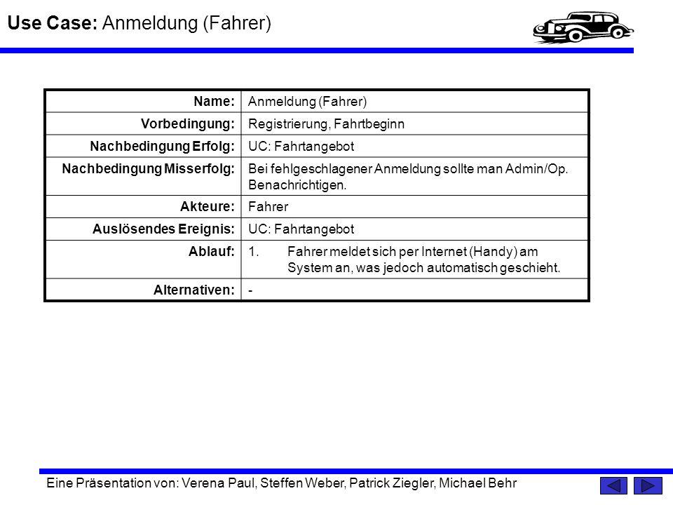 Use Case: Anmeldung (Fahrer) Eine Präsentation von: Verena Paul, Steffen Weber, Patrick Ziegler, Michael Behr Name:Anmeldung (Fahrer) Vorbedingung:Reg