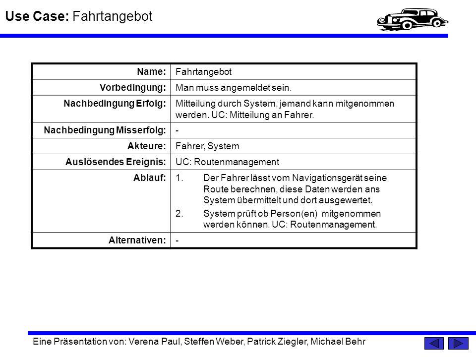 Use Case: Fahrtangebot Eine Präsentation von: Verena Paul, Steffen Weber, Patrick Ziegler, Michael Behr Name:Fahrtangebot Vorbedingung:Man muss angeme