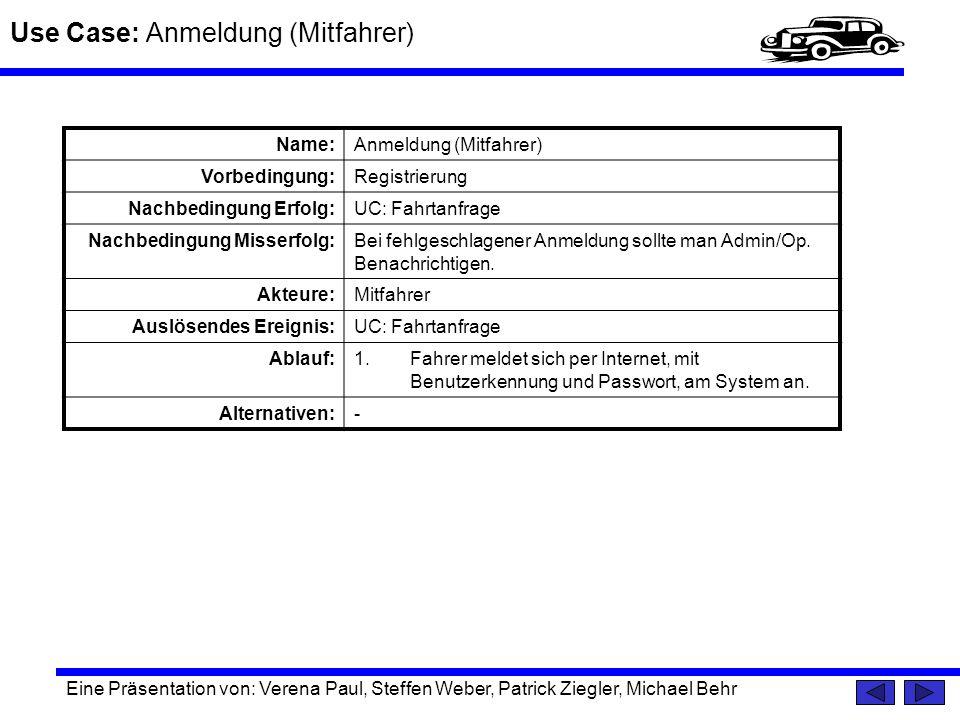 Use Case: Anmeldung (Mitfahrer) Eine Präsentation von: Verena Paul, Steffen Weber, Patrick Ziegler, Michael Behr Name:Anmeldung (Mitfahrer) Vorbedingu