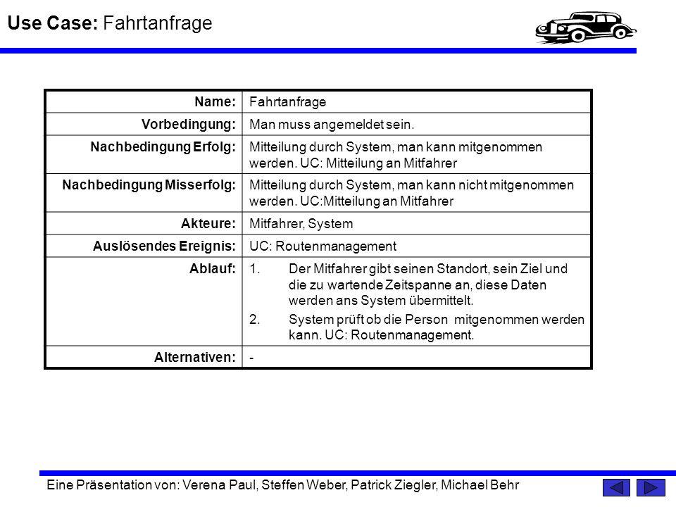 Use Case: Fahrtanfrage Eine Präsentation von: Verena Paul, Steffen Weber, Patrick Ziegler, Michael Behr Name:Fahrtanfrage Vorbedingung:Man muss angeme