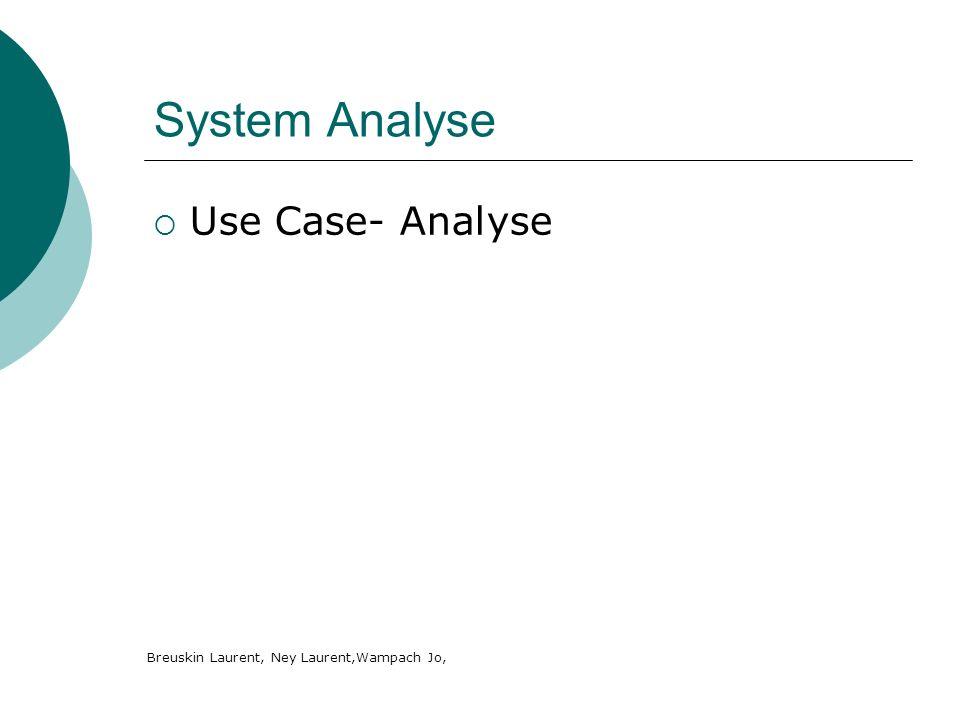 System Analyse Use Case- Analyse Breuskin Laurent, Ney Laurent,Wampach Jo,