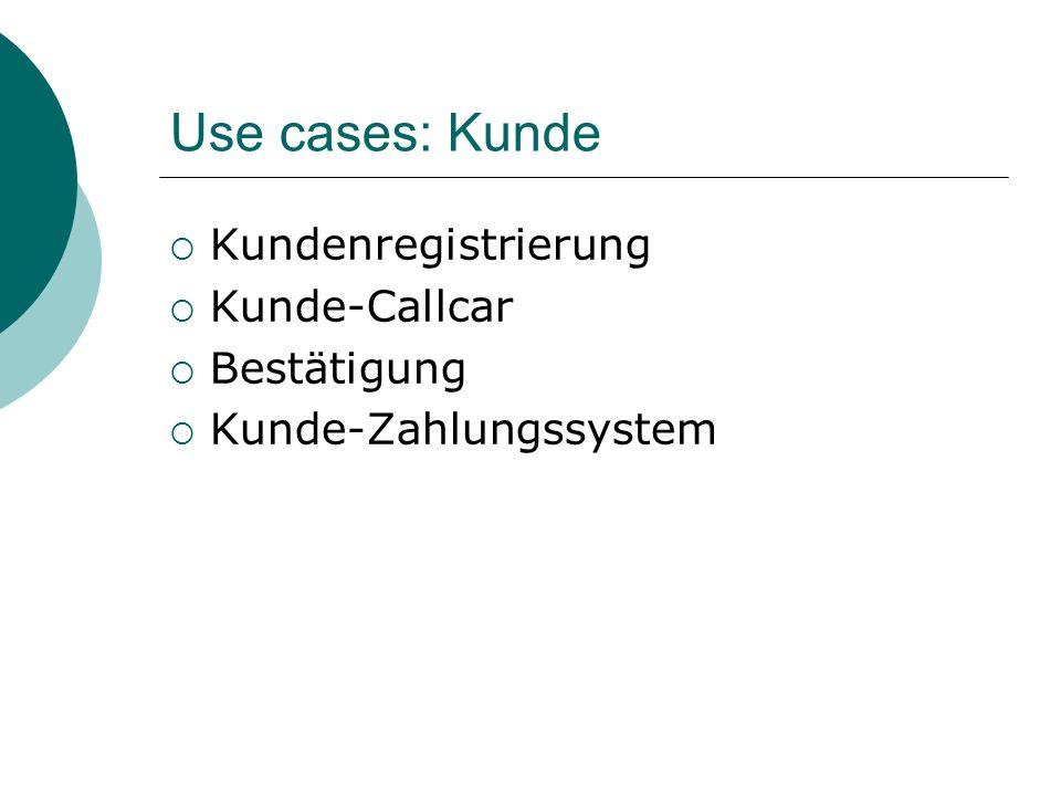 Use cases: Kunde Kundenregistrierung Kunde-Callcar Bestätigung Kunde-Zahlungssystem