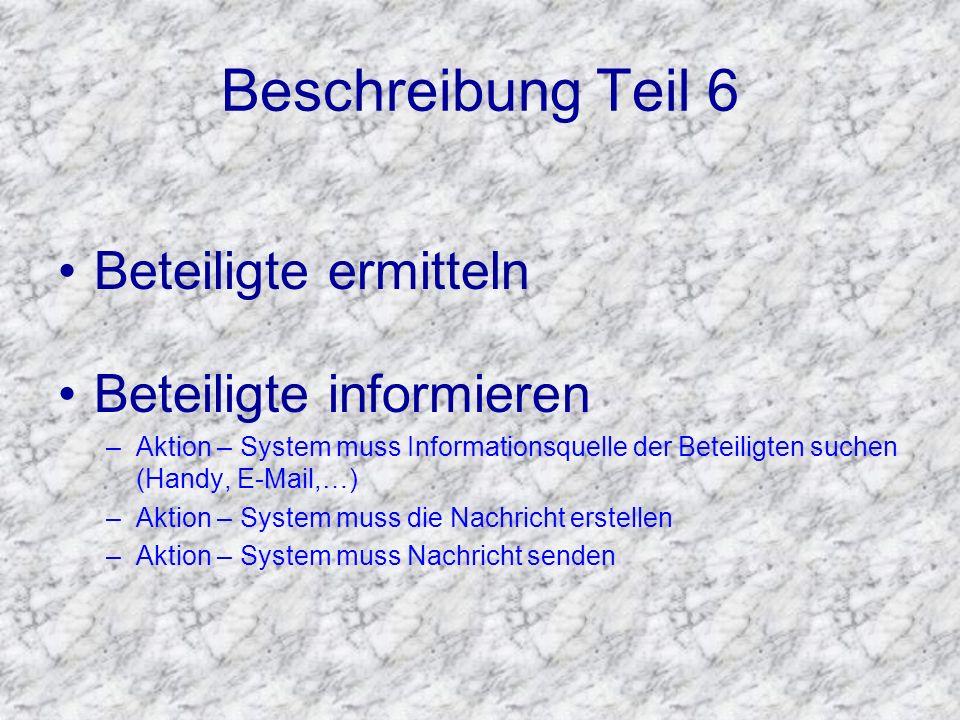 Beschreibung Teil 6 Beteiligte ermitteln Beteiligte informieren –Aktion – System muss Informationsquelle der Beteiligten suchen (Handy, E-Mail,…) –Akt
