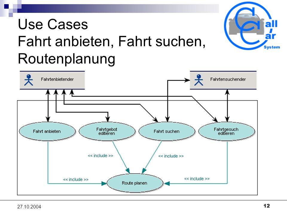 12 27.10.2004 Use Cases Fahrt anbieten, Fahrt suchen, Routenplanung