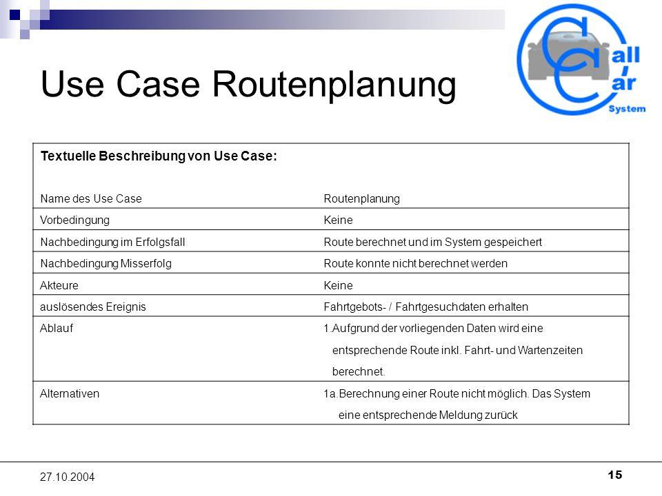 15 27.10.2004 Use Case Routenplanung Textuelle Beschreibung von Use Case: Name des Use CaseRoutenplanung VorbedingungKeine Nachbedingung im ErfolgsfallRoute berechnet und im System gespeichert Nachbedingung MisserfolgRoute konnte nicht berechnet werden AkteureKeine auslösendes EreignisFahrtgebots- / Fahrtgesuchdaten erhalten Ablauf1.Aufgrund der vorliegenden Daten wird eine entsprechende Route inkl.