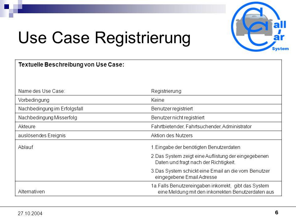 6 27.10.2004 Use Case Registrierung Textuelle Beschreibung von Use Case: Name des Use Case: Registrierung Vorbedingung Keine Nachbedingung im Erfolgsfall Benutzer registriert Nachbedingung Misserfolg Benutzer nicht registriert Akteure Fahrtbietender, Fahrtsuchender, Administrator auslösendes Ereignis Aktion des Nutzers Ablauf1.Eingabe der benötigten Benutzerdaten 2.Das System zeigt eine Auflistung der eingegebenen Daten und fragt nach der Richtigkeit.
