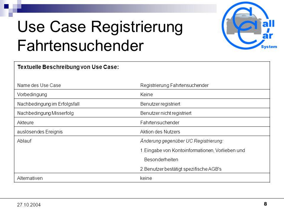 8 27.10.2004 Use Case Registrierung Fahrtensuchender Textuelle Beschreibung von Use Case: Name des Use CaseRegistrierung Fahrtensuchender VorbedingungKeine Nachbedingung im ErfolgsfallBenutzer registriert Nachbedingung MisserfolgBenutzer nicht registriert AkteureFahrtensuchender auslösendes EreignisAktion des Nutzers AblaufÄnderung gegenüber UC Registrierung: 1.Eingabe von Kontoinformationen, Vorlieben und Besonderheiten 2.Benutzer bestätigt spezifische AGB s Alternativenkeine