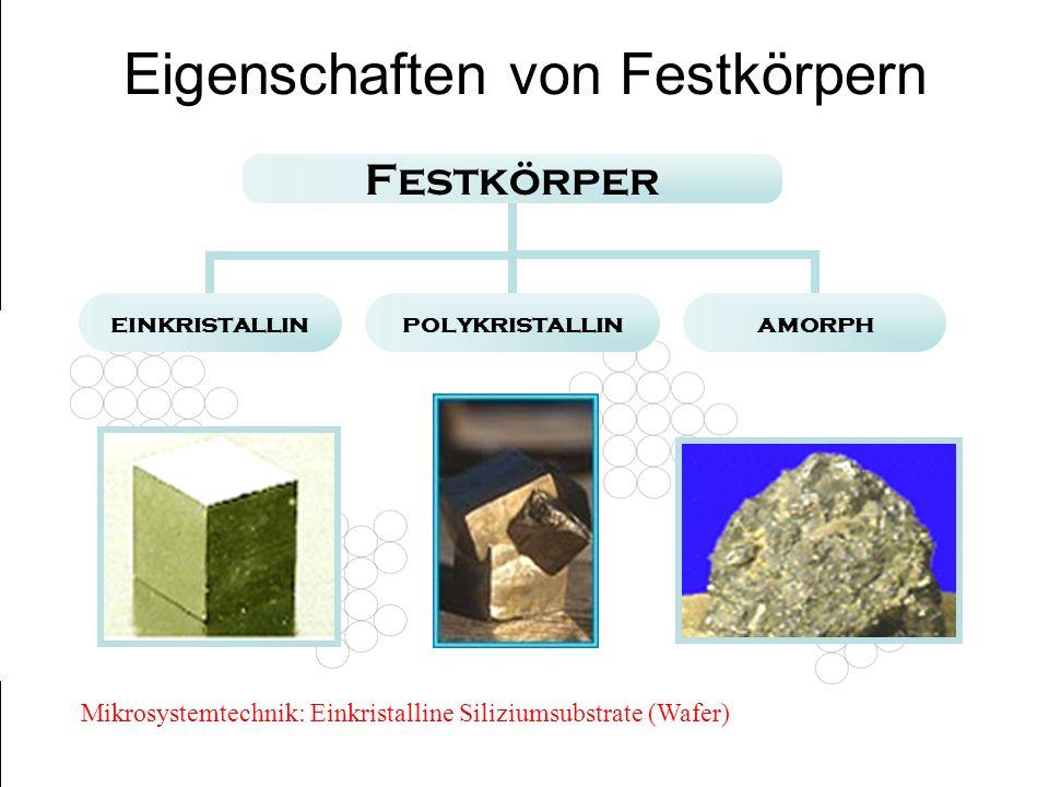 Festkörper einkristallinpolykristallinamorph Eigenschaften von Festkörpern Mikrosystemtechnik: Einkristalline Siliziumsubstrate (Wafer)