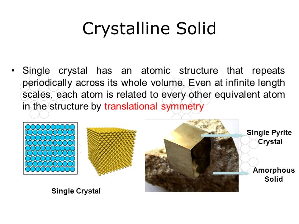 Crystalline Solid Single Crystal Single Pyrite Crystal Amorphous Solid Single crystal has an atomic structure that repeats periodically across its who
