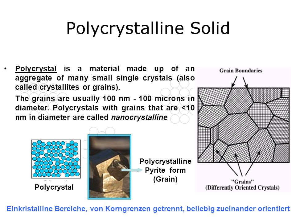 Polycrystalline Solid Polycrystal Polycrystalline Pyrite form (Grain) Polycrystal is a material made up of an aggregate of many small single crystals