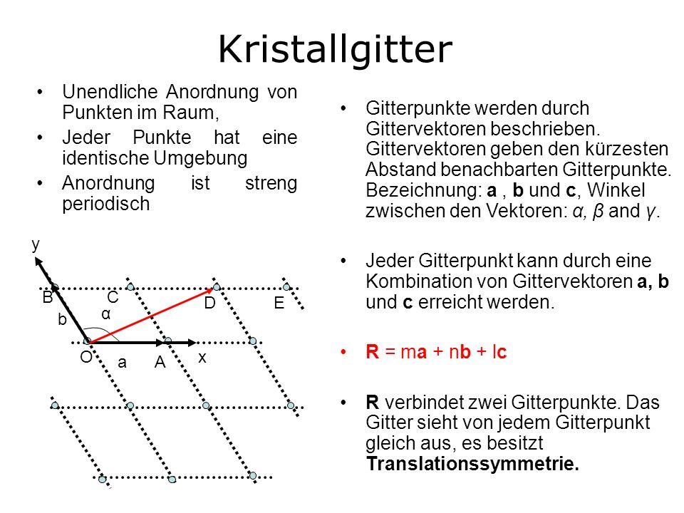 Unendliche Anordnung von Punkten im Raum, Jeder Punkte hat eine identische Umgebung Anordnung ist streng periodisch Kristallgitter α a b CB ED O A y x