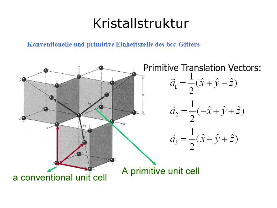 Primitive Translation Vectors: Kristallstruktur Konventionelle und primitive Einheitszelle des bcc-Gitters