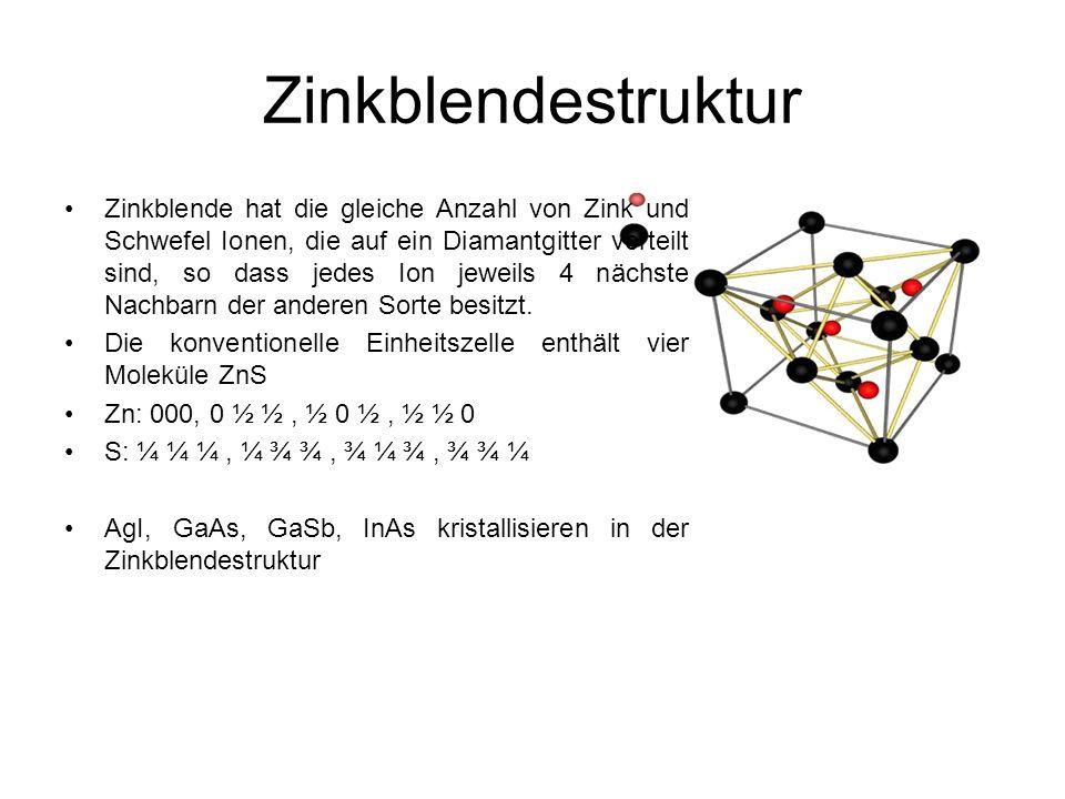 Zinkblendestruktur Zinkblende hat die gleiche Anzahl von Zink und Schwefel Ionen, die auf ein Diamantgitter verteilt sind, so dass jedes Ion jeweils 4