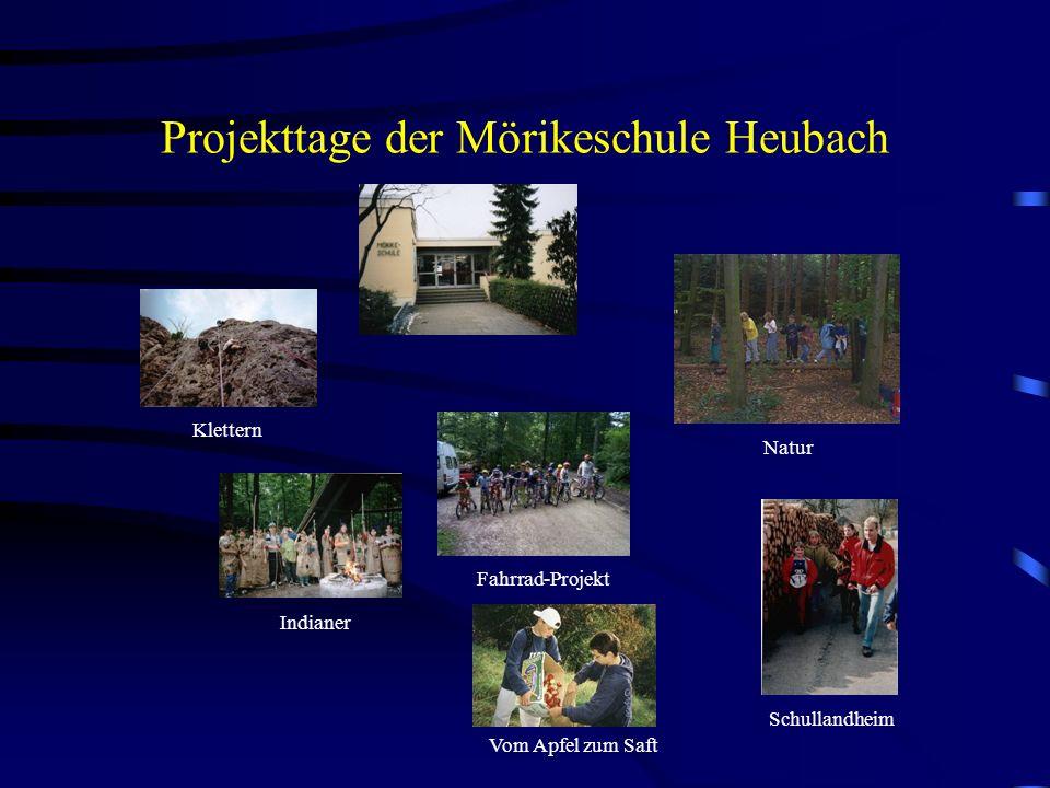 Projekttage der Mörikeschule Heubach Klettern Indianer Fahrrad-Projekt Schullandheim Natur Vom Apfel zum Saft