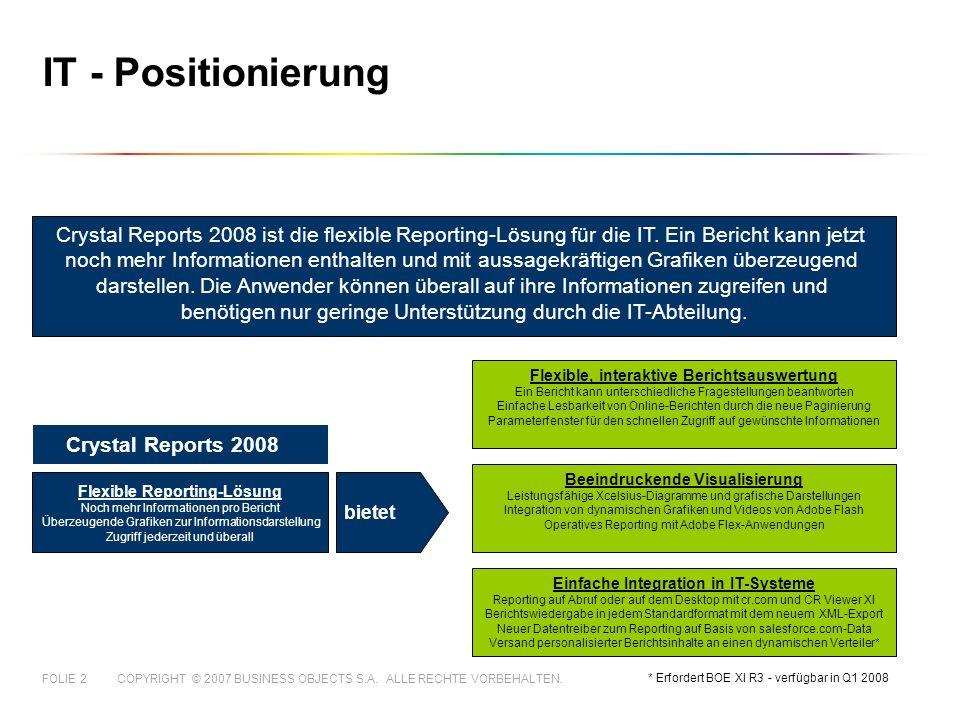 COPYRIGHT © 2007 BUSINESS OBJECTS S.A. ALLE RECHTE VORBEHALTEN.FOLIE 2 IT - Positionierung Crystal Reports 2008 ist die flexible Reporting-Lösung für