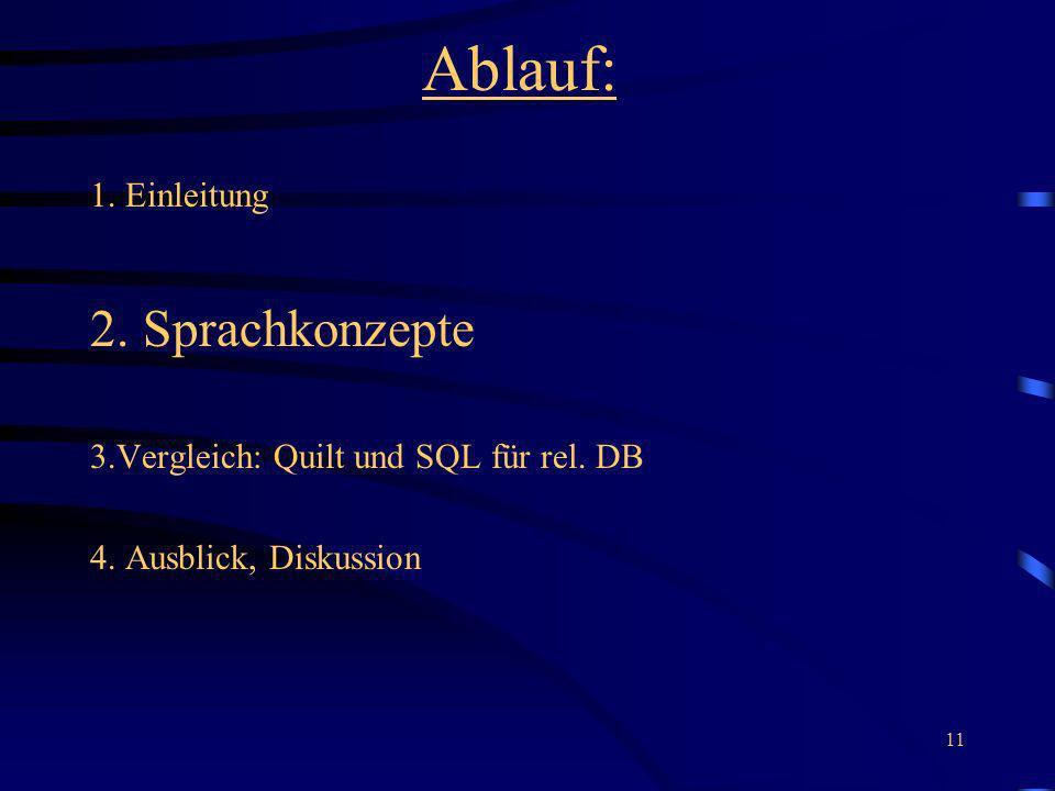 11 Ablauf: 1. Einleitung 2. Sprachkonzepte 3.Vergleich: Quilt und SQL für rel. DB 4. Ausblick, Diskussion