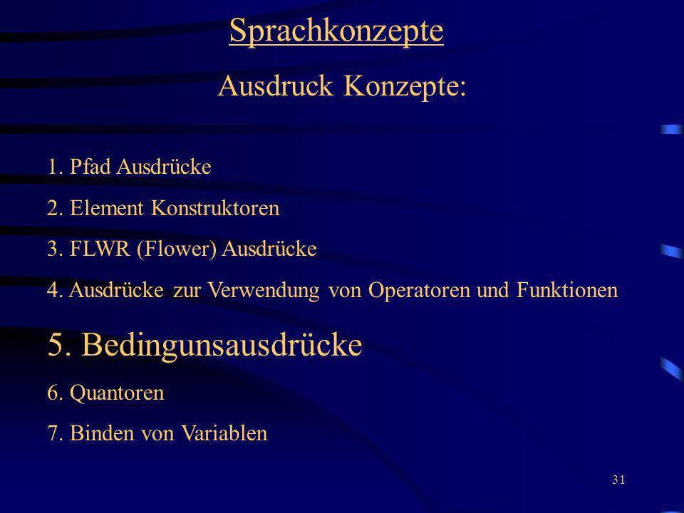 31 Sprachkonzepte Ausdruck Konzepte: 1. Pfad Ausdrücke 2. Element Konstruktoren 3. FLWR (Flower) Ausdrücke 4. Ausdrücke zur Verwendung von Operatoren