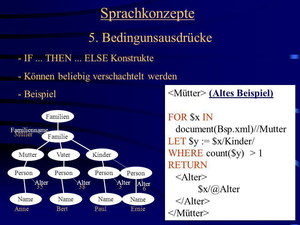 32 Sprachkonzepte 5. Bedingunsausdrücke - IF... THEN... ELSE Konstrukte - Können beliebig verschachtelt werden - Beispiel Familien Familie MutterVater