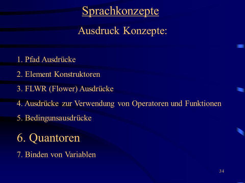 34 Sprachkonzepte Ausdruck Konzepte: 1. Pfad Ausdrücke 2. Element Konstruktoren 3. FLWR (Flower) Ausdrücke 4. Ausdrücke zur Verwendung von Operatoren