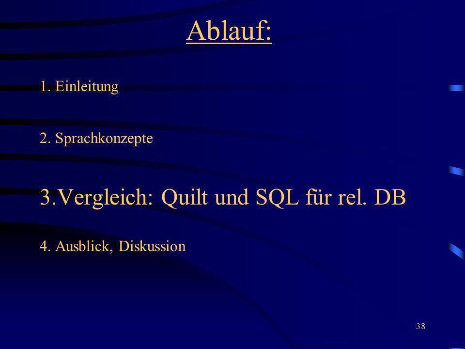 38 Ablauf: 1. Einleitung 2. Sprachkonzepte 3.Vergleich: Quilt und SQL für rel. DB 4. Ausblick, Diskussion