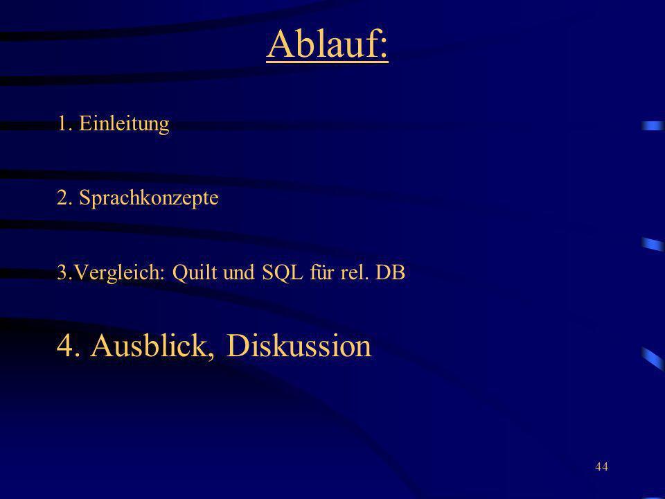 44 Ablauf: 1. Einleitung 2. Sprachkonzepte 3.Vergleich: Quilt und SQL für rel. DB 4. Ausblick, Diskussion