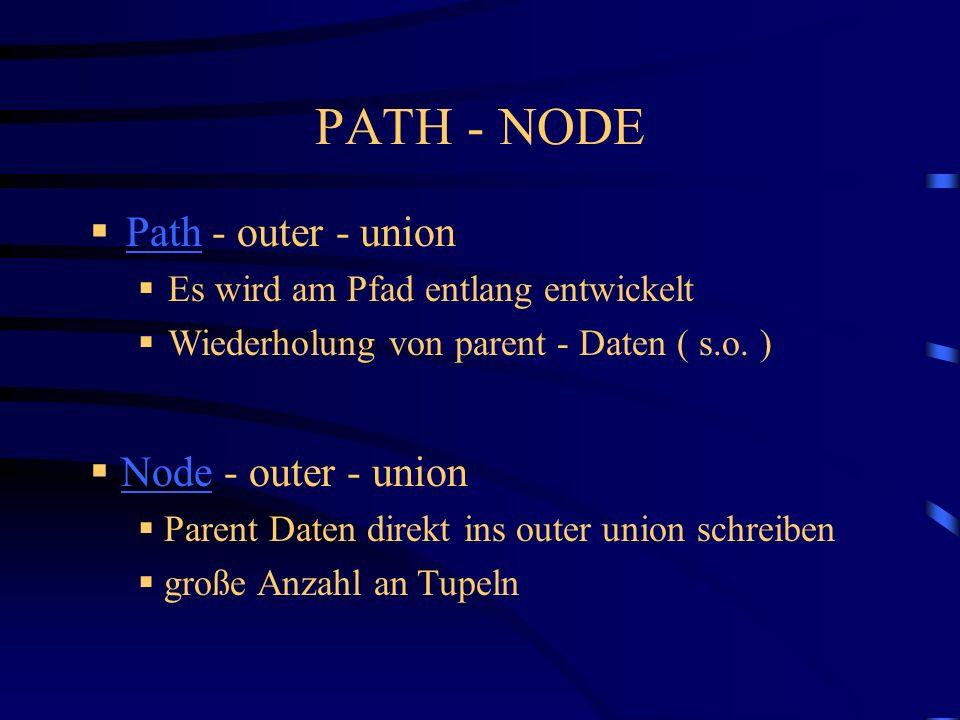 Path - outer - union Path Es wird am Pfad entlang entwickelt Wiederholung von parent - Daten ( s.o.