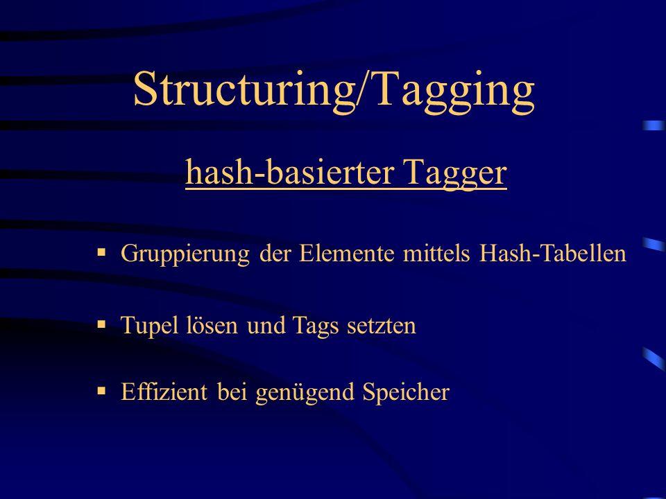 hash-basierter Tagger Gruppierung der Elemente mittels Hash-Tabellen Effizient bei genügend Speicher Tupel lösen und Tags setzten Structuring/Tagging