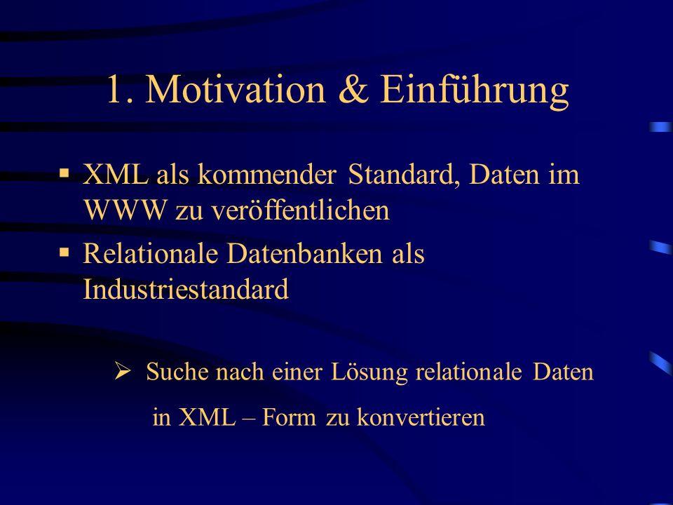 1. Motivation & Einführung XML als kommender Standard, Daten im WWW zu veröffentlichen Relationale Datenbanken als Industriestandard Suche nach einer