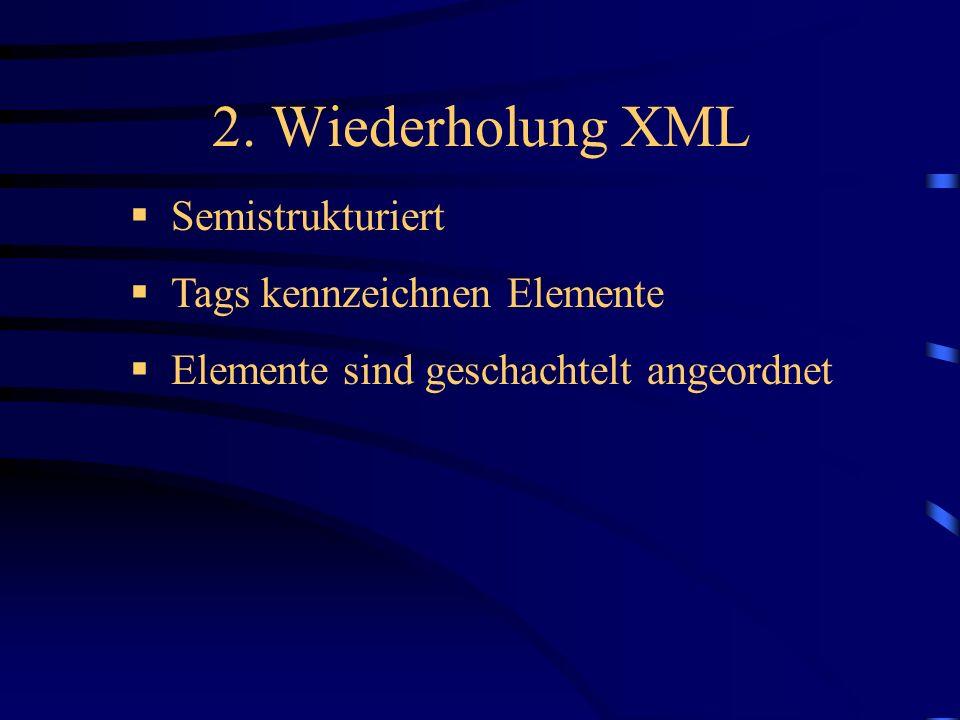 2. Wiederholung XML Semistrukturiert Tags kennzeichnen Elemente Elemente sind geschachtelt angeordnet