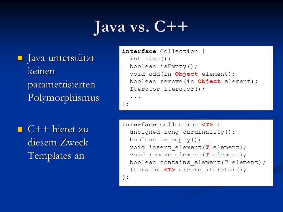 Java vs. C++ Java unterstützt keinen parametrisierten Polymorphismus Java unterstützt keinen parametrisierten Polymorphismus C++ bietet zu diesem Zwec