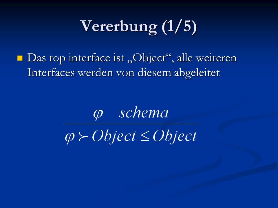 Vererbung (1/5) Das top interface ist Object, alle weiteren Interfaces werden von diesem abgeleitet Das top interface ist Object, alle weiteren Interfaces werden von diesem abgeleitet