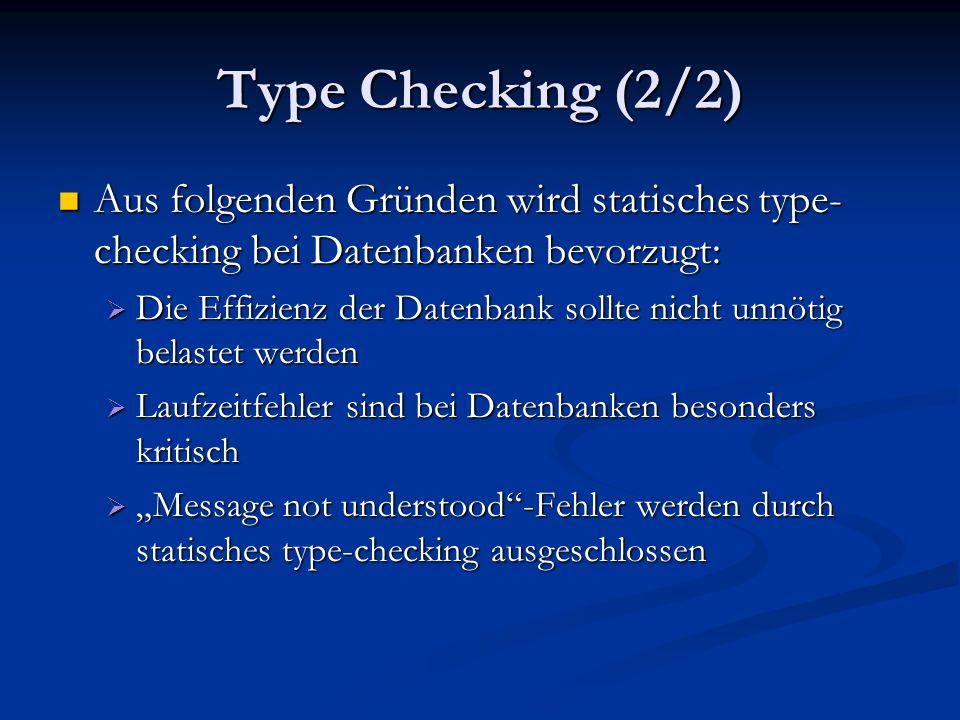 F-Bounded polymorphism (1/3) Theorem: Wenn die C++-Anbindung an die Datenbank F-bounded polymorphism unterstützt ist ein statisches type-checking von Queries möglich Theorem: Wenn die C++-Anbindung an die Datenbank F-bounded polymorphism unterstützt ist ein statisches type-checking von Queries möglich interface Ordered_Collection > :Collection {...