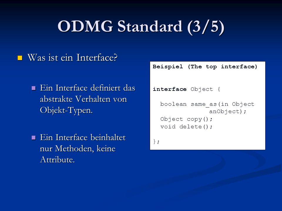 Zusammenfassung OQL Queries können im ODMG-Standard nicht auf Korrektheit geprüft werden OQL Queries können im ODMG-Standard nicht auf Korrektheit geprüft werden OQL Queries können in der Java-Anbindung nicht auf Korrektheit überprüft werden OQL Queries können in der Java-Anbindung nicht auf Korrektheit überprüft werden Parameter Polymorphismus sollte von einer Sprache für die Datenbank unterstüzt werden Parameter Polymorphismus sollte von einer Sprache für die Datenbank unterstüzt werden Um geordnete Menge korrekt zu überprüfen wird F-bounded polymorphism benötigt Um geordnete Menge korrekt zu überprüfen wird F-bounded polymorphism benötigt