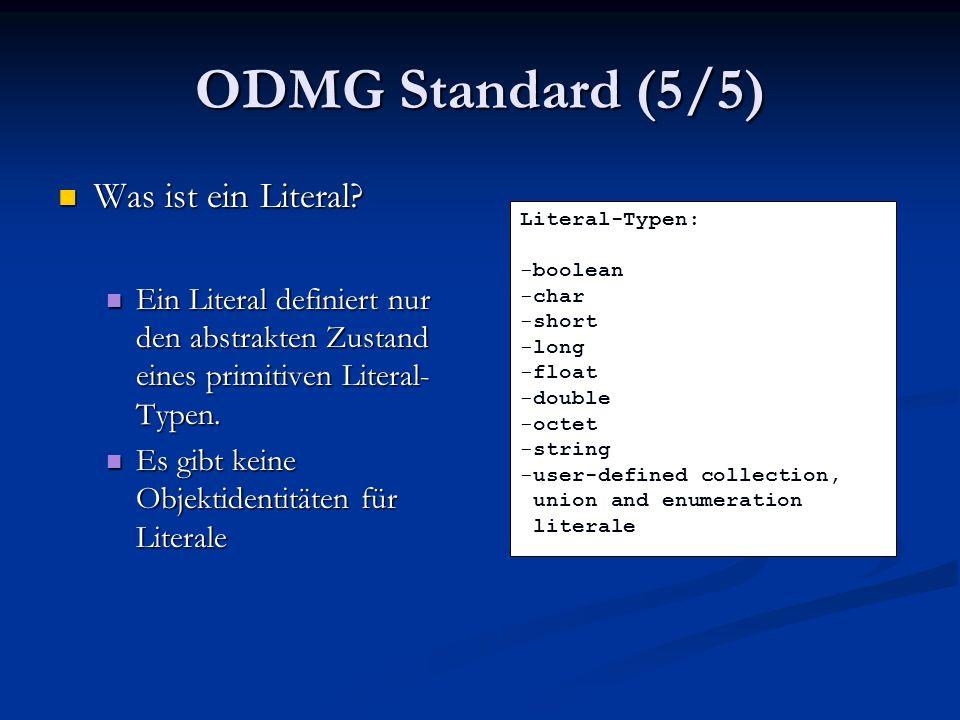 Java OQL (6/6) Es werden gut bezahlte Mitarbeiter in großen Abteilungen gesucht Es werden gut bezahlte Mitarbeiter in großen Abteilungen gesucht Bei diesem Beispiel treten mehrere Probleme auf: Bei diesem Beispiel treten mehrere Probleme auf: Es kann nur ein Laufzeitcheck ausgeführt werden Es kann nur ein Laufzeitcheck ausgeführt werden Die Übergabeparameter (mittels query.bind()) müssen zu dem Query passen Die Übergabeparameter (mittels query.bind()) müssen zu dem Query passen Der Rückgabewert von query.execute() ist Object, die Select-Anweisung liefert eine Menge von Objekten Der Rückgabewert von query.execute() ist Object, die Select-Anweisung liefert eine Menge von Objekten