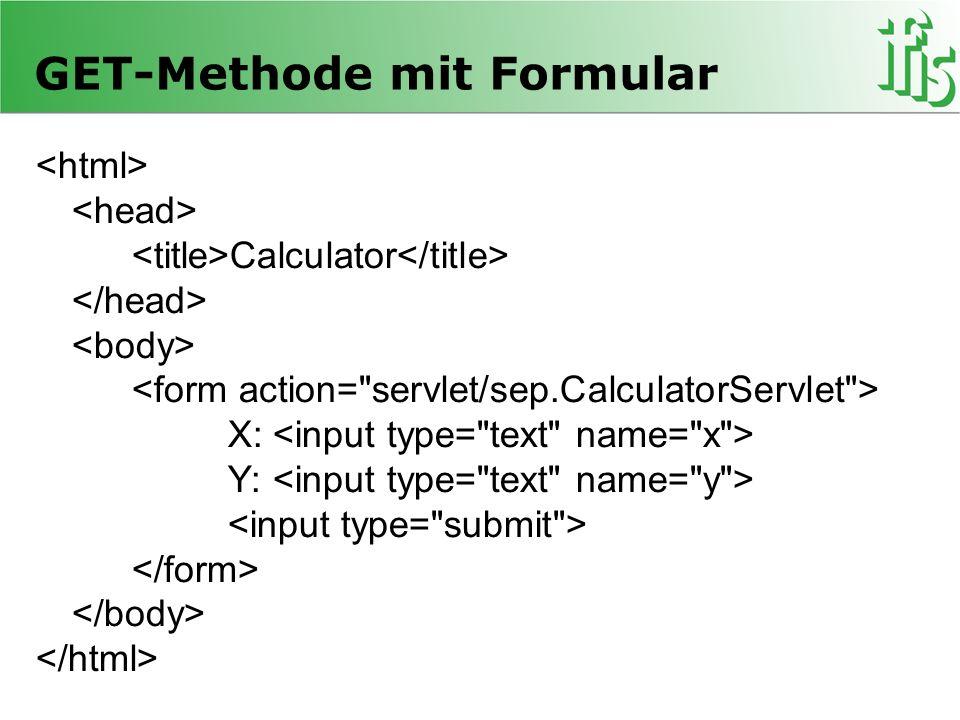 GET-Methode mit Formular Calculator X: Y: