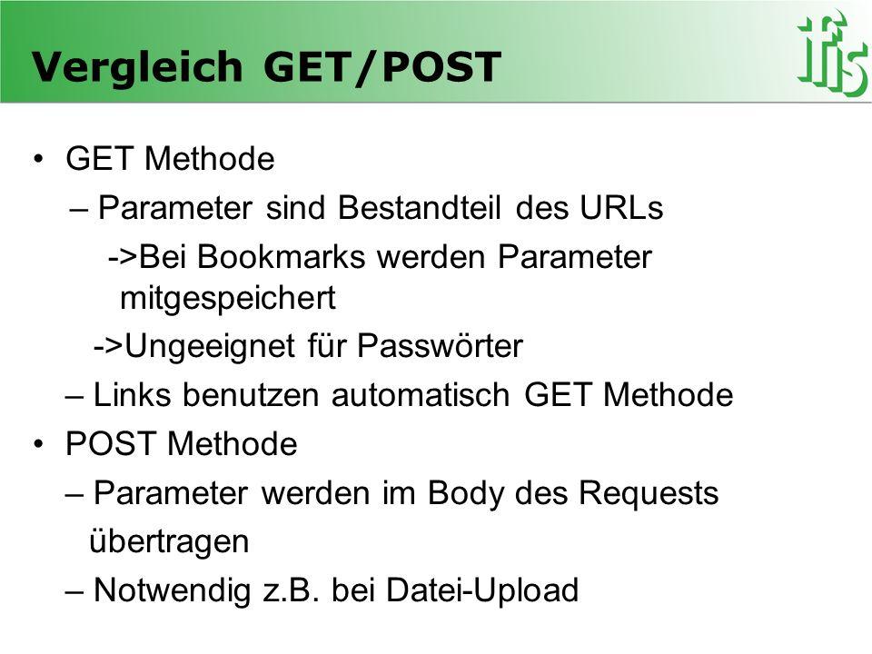 Vergleich GET/POST GET Methode – Parameter sind Bestandteil des URLs ->Bei Bookmarks werden Parameter mitgespeichert ->Ungeeignet für Passwörter – Lin
