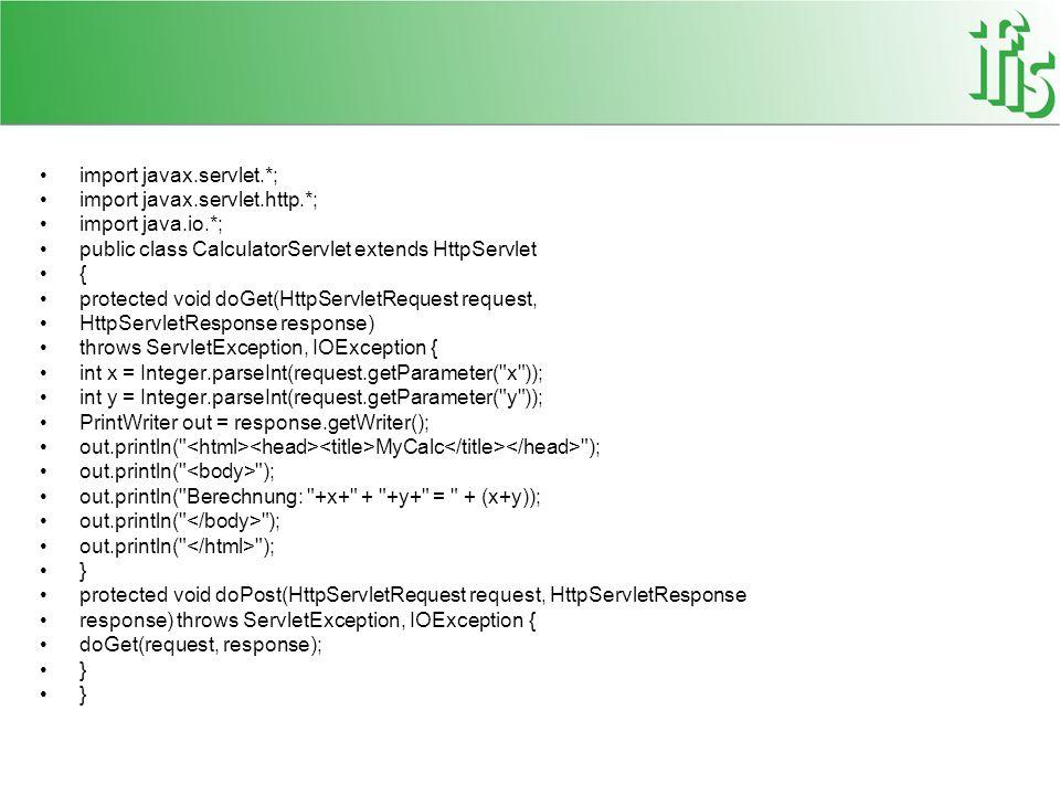 import javax.servlet.*; import javax.servlet.http.*; import java.io.*; public class CalculatorServlet extends HttpServlet { protected void doGet(HttpS