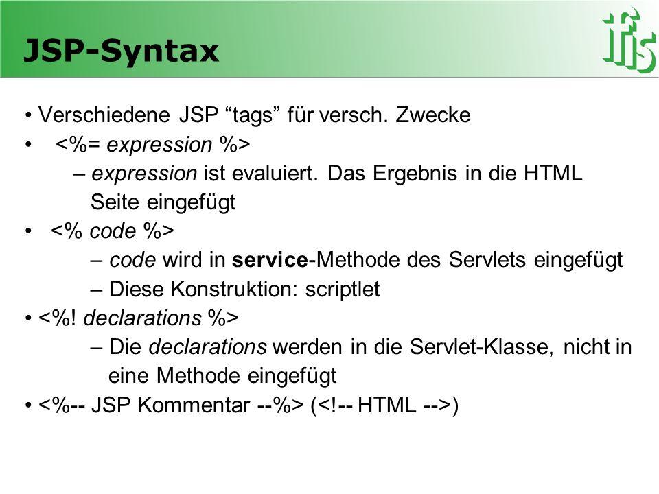 JSP-Syntax Verschiedene JSP tags für versch. Zwecke – expression ist evaluiert. Das Ergebnis in die HTML Seite eingefügt – code wird in service-Method