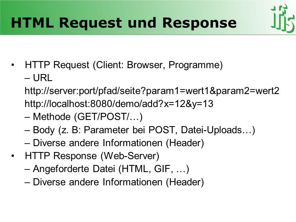 HTML Request und Response HTTP Request (Client: Browser, Programme) – URL http://server:port/pfad/seite?param1=wert1&param2=wert2 http://localhost:808