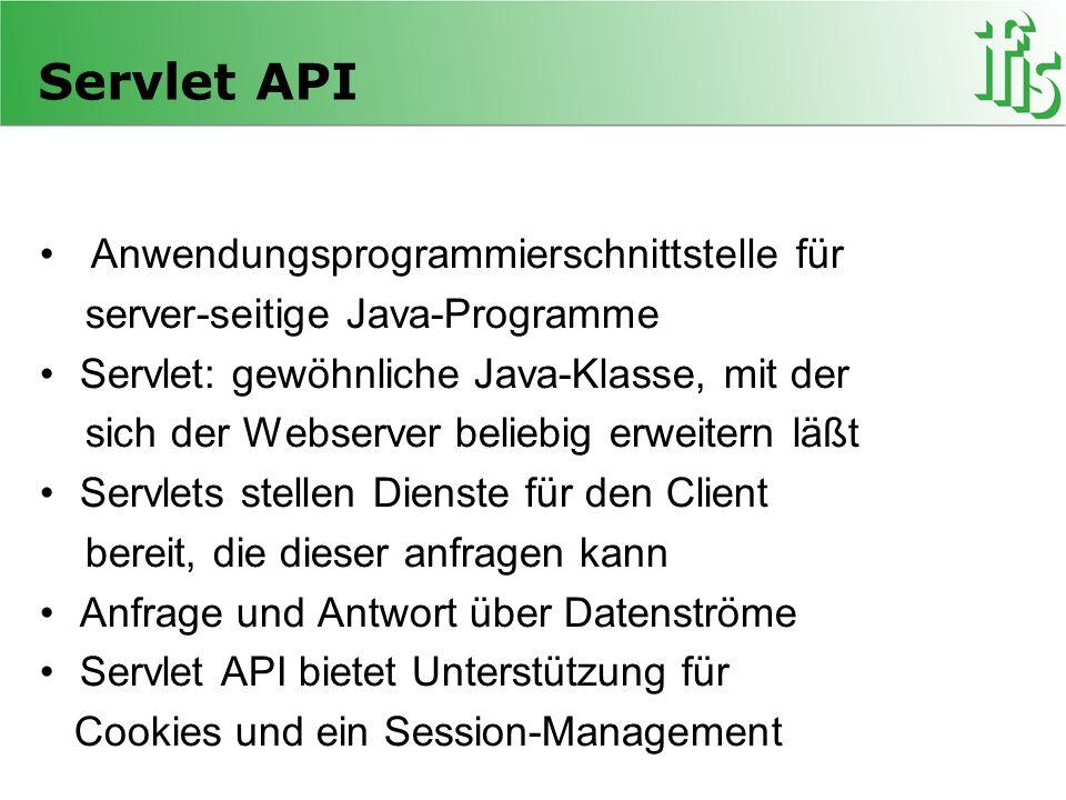 Servlet API Anwendungsprogrammierschnittstelle für server-seitige Java-Programme Servlet: gewöhnliche Java-Klasse, mit der sich der Webserver beliebig