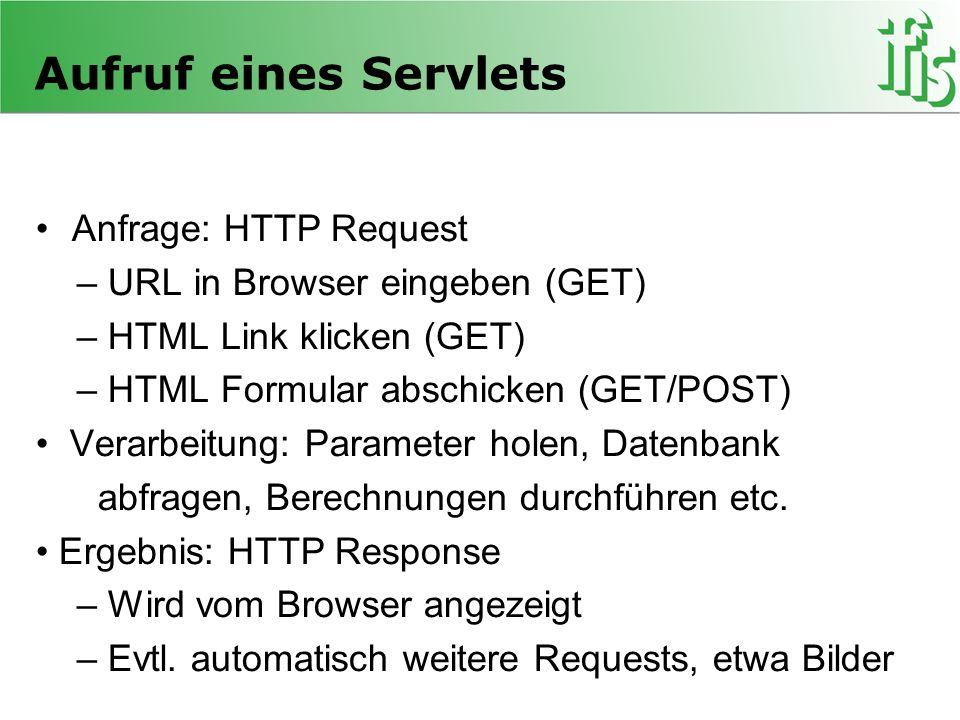 Aufruf eines Servlets Anfrage: HTTP Request – URL in Browser eingeben (GET) – HTML Link klicken (GET) – HTML Formular abschicken (GET/POST) Verarbeitu